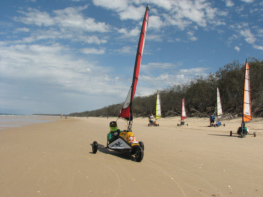 Blokarting on Conway beach